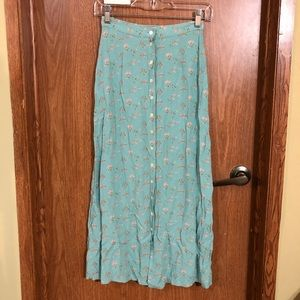 GAP blue and pink button down maxi skirt 0